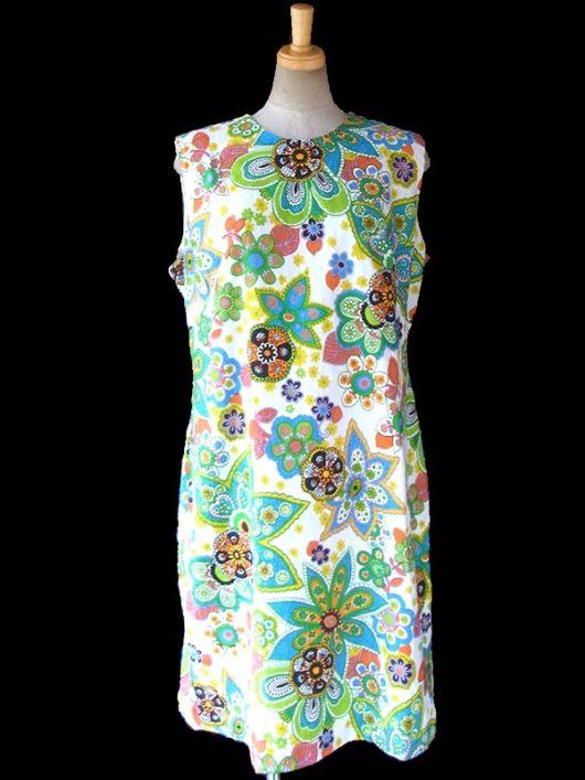 【送料無料】ロンドン買い付け 60年代製 ホワイト X カラフル花柄プリント 花柄の浮かび上がる生地 レトロ ワンピース 16OM918【ヨーロッパ古着】