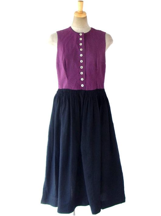 【送料無料】ロンドン買い付け 60年代製 レッド・ブルー チェック柄 X ブラック スカート チロリアン ワンピース 16OM919【ヨーロッパ古着】
