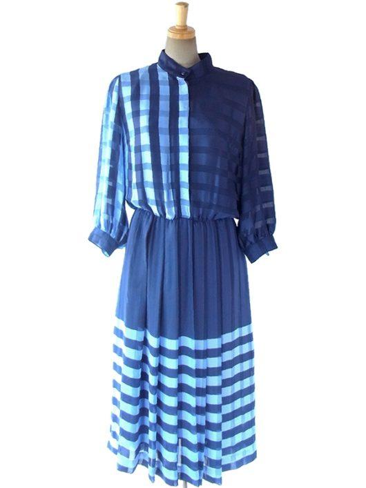 【ヨーロッパ古着】ロンドン買い付け 光沢のあるブルー X 水色 チェック柄 ドルマンスリーブ ワンピース 10BS170【美品】