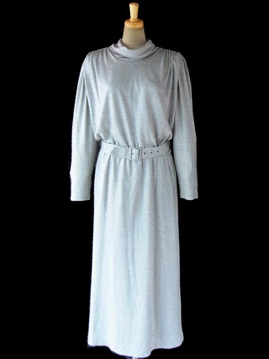 【送料無料】ロンドン買い付け Betty Barclay 70年代製 グレイ X 後襟リボン 共布ベルト付き レトロ ワンピース 16BS403【ヨーロッパ古着】