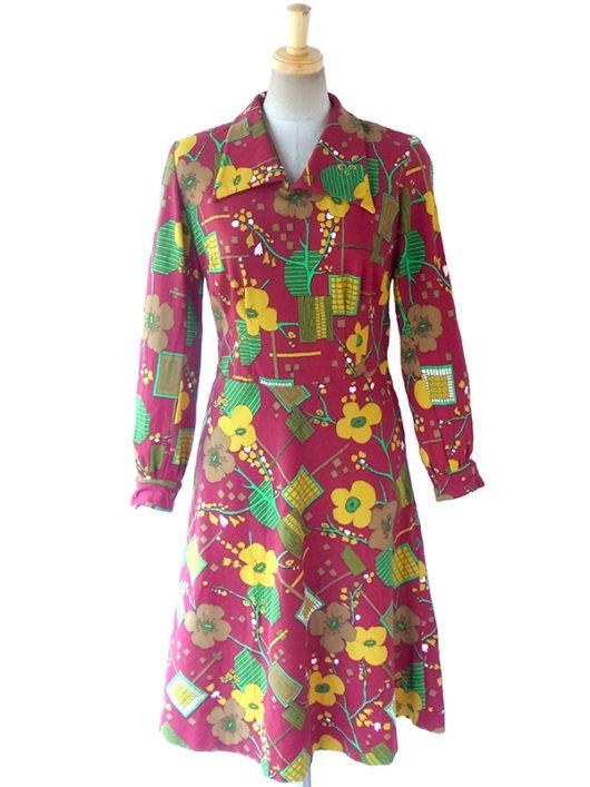 【送料無料】ロンドン買い付け 60年代製 ブラウン X カラフル レトロ花柄 ヴィンテージ ワンピース 16BS408【ヨーロッパ古着】