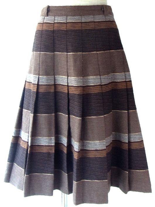 【ヨーロッパ古着】ロンドン買い付け 70年代イタリア製 ブラウン X グレイ・ゴールド ボーダー プリーツスカート 16BS424【美品】