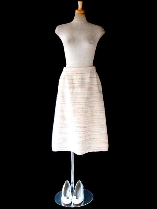 【ヨーロッパ古着】ロンドン買い付け イタリア製 オフホワイト X オレンジ・グレイ ボーダー スカート 16BS425【美品】