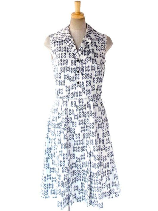 【送料無料】ロンドン買い付け 70年代製 ホワイト X ブルー レトロ柄 デザインボタン プリーツ ワンピース 16OM1014【ヨーロッパ古着】