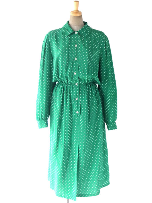【送料無料】60年代フランス製 光沢のあるグリーン X ホワイト 水玉 ヴィンテージ シルク ワンピース 17FC109【ヨーロッパ古着】