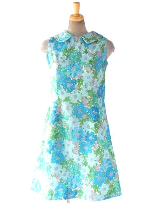 【送料無料】フランス買い付け 60年代製 水色を基調とした花柄 かわいい襟 Aライン ワンピース 17FC114【ヨーロッパ古着】