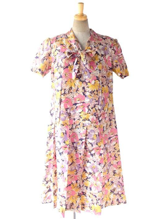 【ヨーロッパ古着】ロンドン買い付け 70年代製 ピンク・イエロー・パープル 花柄 リボンタイ プリーツ ワンピース 17OM118【おとなかわいい】