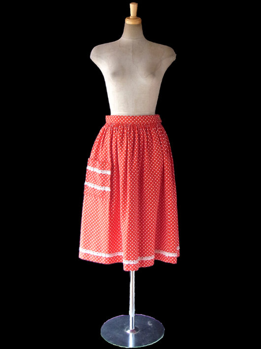 【ヨーロッパ古着】ロンドン買い付け 60年代製 レッド X ホワイト 水玉 レーステープ ポケット付き スカート 10BS188【おとなかわいい】