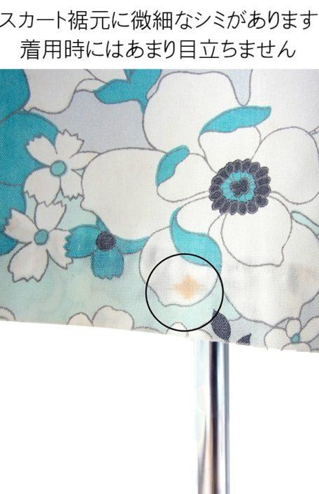 【送料無料】ロンドン買い付け 60年代製 水色 X ホワイト・ブラック レトロ花柄 ボックスプリーツ ワンピース 16OM837【ヨーロッパ古着】