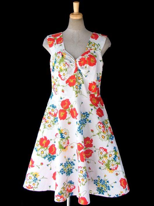 【送料無料】ロンドン買い付け 60年代製 ホワイト X カラフル花柄 フレアシルエット レトロ ワンピース 17BS009【ヨーロッパ古着】