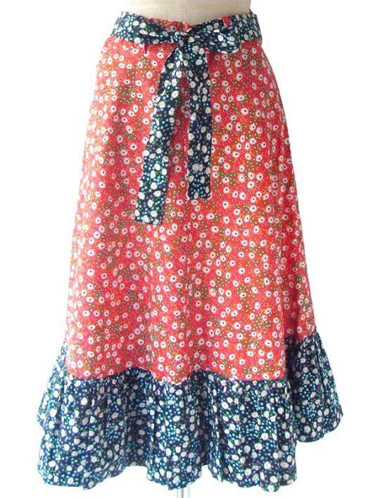 【ヨーロッパ古着】ロンドン買い付け 60年代製 レッド X ブルー カラフル花柄 共布ベルト付き ヴィンテージ スカート 17BS028【おとなかわいい】