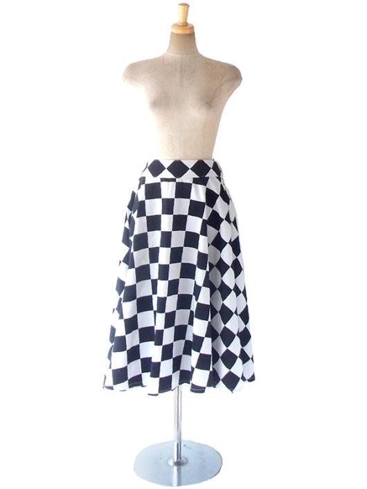 【ヨーロッパ古着】ロンドン買い付け 60年代製 ホワイト X ブラック チェッカーフラッグ スカート 17BS029【おとなかわいい】