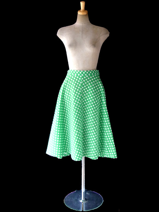 【ヨーロッパ古着】ロンドン買い付け 70年代製 グリーン X ホワイト 水玉 レトロ スカート 17BS031【おとなかわいい】