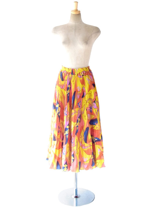 【ヨーロッパ古着】ロンドン買い付け 70年代製 イエロー X カラフルなレトロプリント アンブレラプリーツ スカート 17BS032【おとなかわいい】