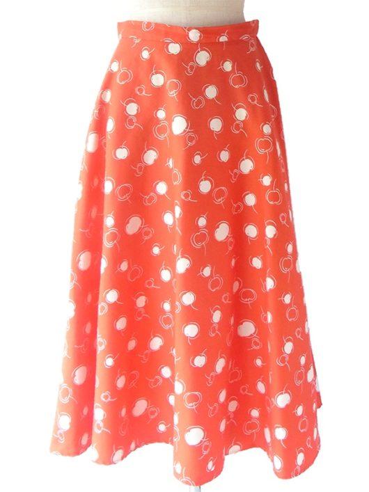 【ヨーロッパ古着】ロンドン買い付け 60年代製 朱色 X ホワイト 水玉 チェリー柄 ヴィンテージ スカート 17BS033【おとなかわいい】