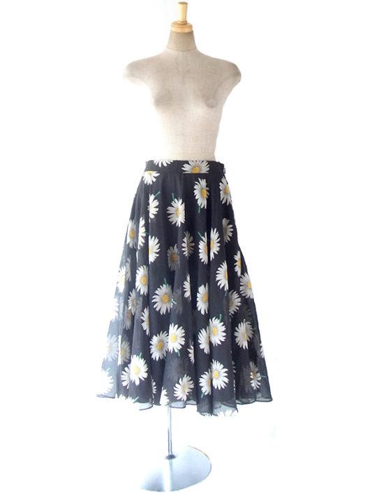 【ヨーロッパ古着】ロンドン買い付け 70年代製 ブラック X ホワイト マーガレット柄 ヴィンテージ スカート 17BS035【おとなかわいい】
