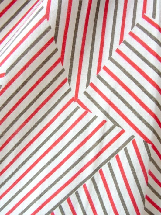 【ヨーロッパ古着】ロンドン買い付け クリーム色 X レッド・モスグリーン ストライプ ヴィンテージ スカート 17BS037【おとなかわいい】