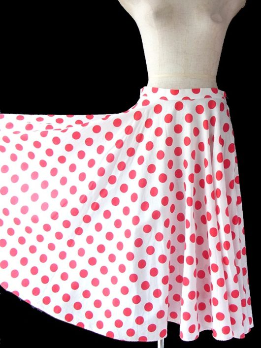 【ヨーロッパ古着】ロンドン買い付け 60年代製 ホワイト X レッド 水玉 サーキュラー スカート 17BS038【おとなかわいい】