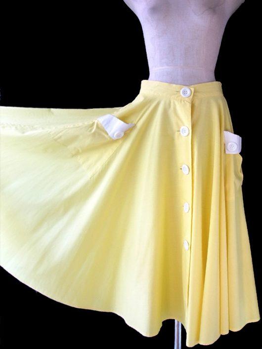 【ヨーロッパ古着】ロンドン買い付け 70年代製 レモン色 X ホワイト 前開き かわいいボタン レトロ スカート 17BS039【おとなかわいい】