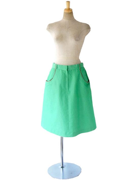 【ヨーロッパ古着】ロンドン買い付け グリーン X レッド パイピング ポケット付き レトロ スカート 17BS041【おとなかわいい】