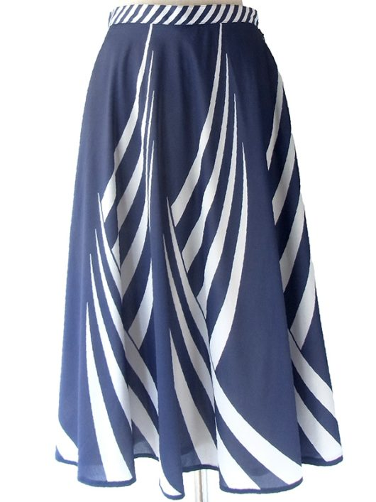 【ヨーロッパ古着】ロンドン買い付け 70年代製 ブルー X ホワイト 波型ストライプ レトロ スカート 17BS042【おとなかわいい】