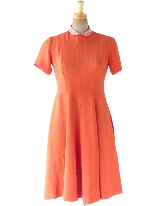 【送料無料】ロンドン買い付け 50年代製 朱色 X チェック柄 スカートに切り込みデザイン ヴィンテージ ワンピース 17OM521【ヨーロッパ古着】