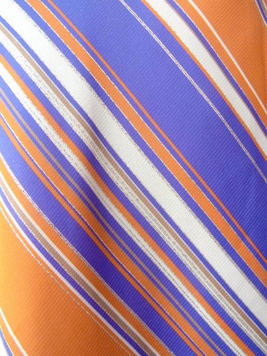 【ヨーロッパ古着】ロンドン買い付け 70年代製 パープル・オレンジ・ラメ入りゴールド 斜めストライプ マキシ スカート 17OM524【おとなかわいい】
