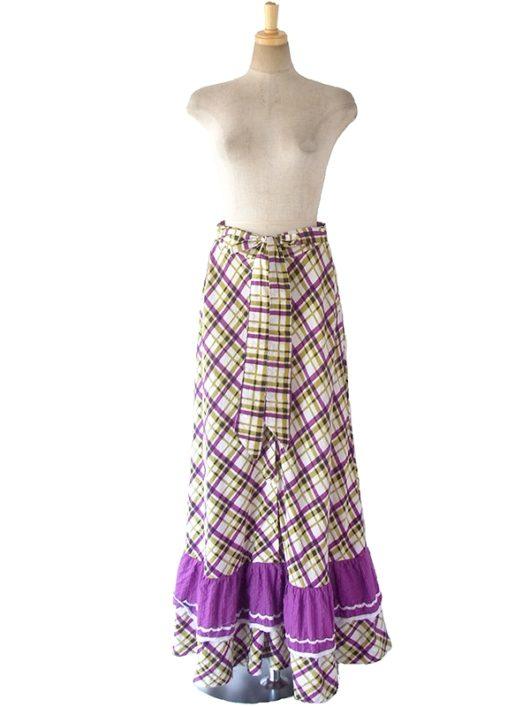 【ヨーロッパ古着】ロンドン買い付け 60年代製 若草色 X パープル チェック柄 前開き マキシ スカート 17OM525【おとなかわいい】