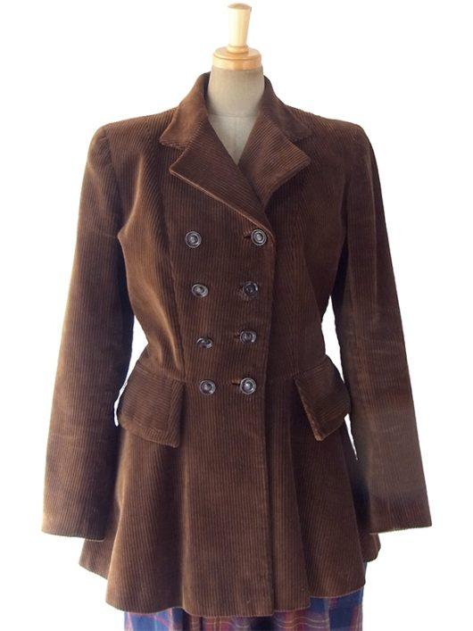 【送料無料】ロンドン買い付け ダークブラウン X ペプラムデザイン コーデュロイ ジャケット コート 10BS224【ヨーロッパ古着】
