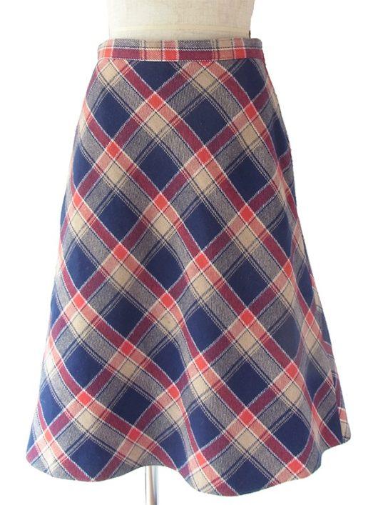 【ヨーロッパ古着】ロンドン買い付け 70年代製 レッド X ブルー X サンドベージュ チェック柄 スカート 17BS136【美品】