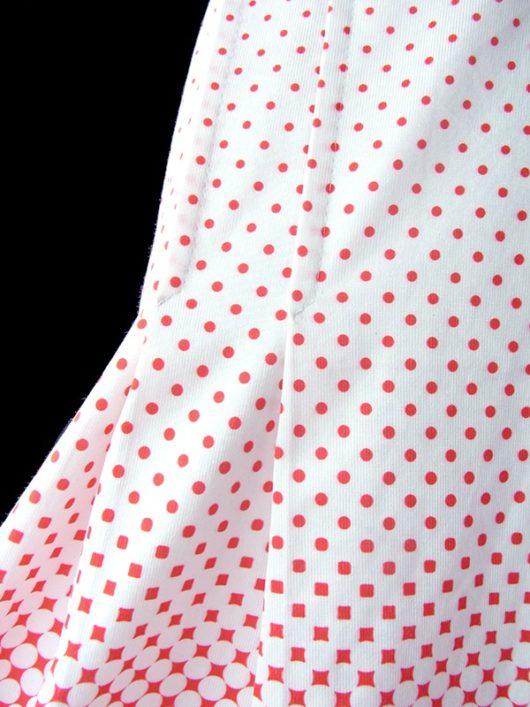 【ヨーロッパ古着】ロンドン買い付け 70年代製 ホワイト X レッド 水玉・花柄プリント プリーツ レトロ スカート 17BS137【美品】