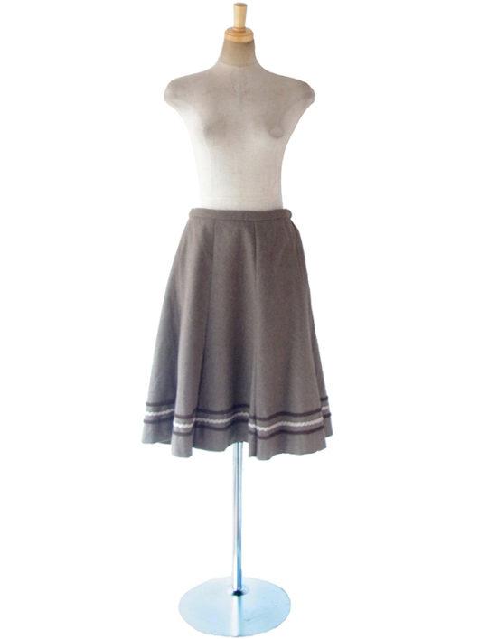 【ヨーロッパ古着】ロンドン買い付け 60年代製 チャコールグレイ X コードレース ウール サーキュラー スカート 17BS138【美品】