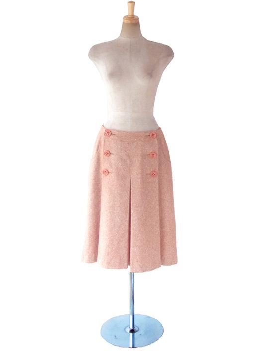 【ヨーロッパ古着】ロンドン買い付け アプリコットオレンジ X フロントボタン開き ツイード スカート 17BS140【美品】