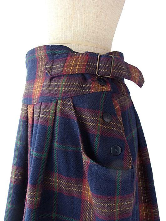 【ヨーロッパ古着】イタリア製 タータンチェック アジャスター・ポケット付き スカート 17BS143【美品】