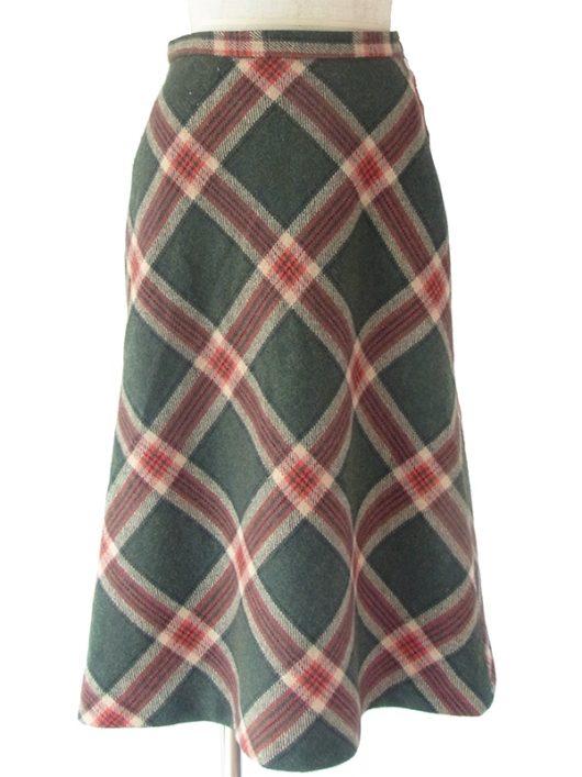 【ヨーロッパ古着】ロンドン買い付け 70年代製 モスグリーン X 朱色 X サンドベージュ チェック柄 スカート 17BS144【美品】