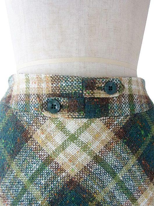 【ヨーロッパ古着】ロンドン買い付け 70年代製 グリーン X ブラウン X ベージュ チェック柄 ミックスツイード スカート 17BS145【美品】
