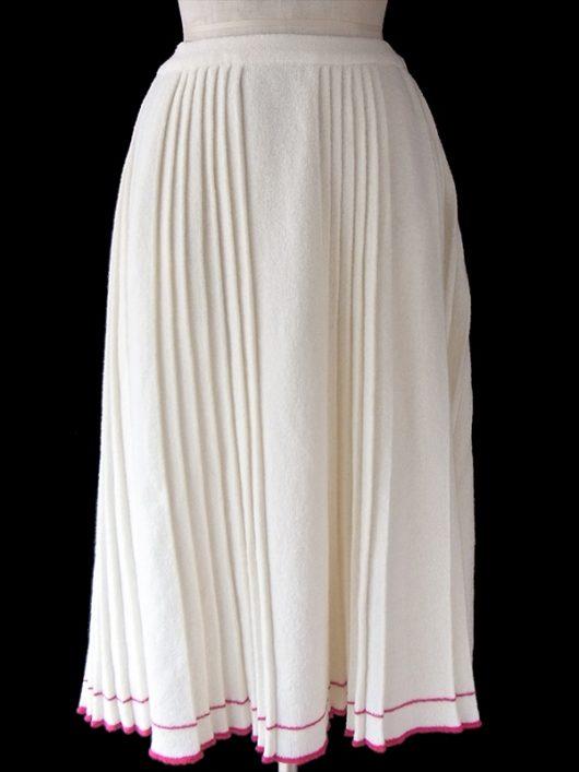 【ヨーロッパ古着】70年代西ドイツ製 オフホワイト X 裾元レッドライン ウェストゴム入り タオル地 プリーツ スカート 17BS147【美品】