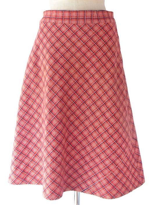 【ヨーロッパ古着】ロンドン買い付け 60年代製 レッド X ブルー・ホワイト チェック柄 ヴィンテージ スカート 17BS150【美品】