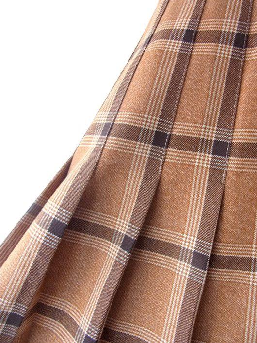 ロンドン買い付け ブラウン X ブラック・ホワイト チェック柄 プリーツ スカート 17BS151