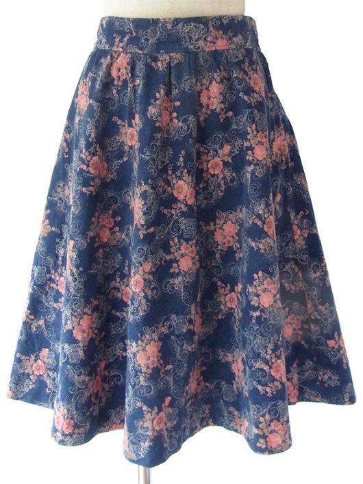 【ヨーロッパ古着】ロンドン買い付け ネイビー X ピンク 花柄 ヴィンテージ コーデュロイ スカート 17BS153【美品】