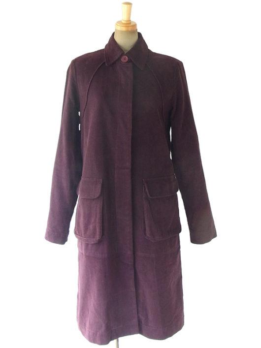 【送料無料】ロンドン買い付け バーガンディー X コーデュロイ ステンカラー風デザイン コート 09UK1428【ヨーロッパ古着】