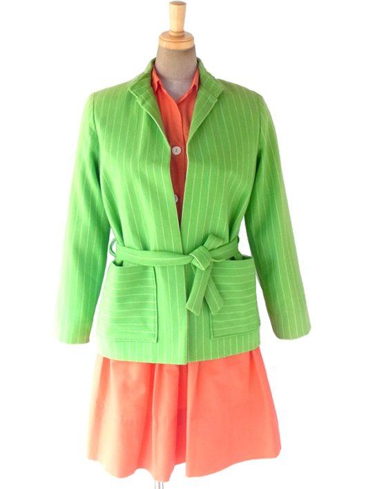 【送料無料】フランス買い付け 60年代製 ライムグリーン X ホワイト ストライプ ベルト付き ウール ジャケット 12FC67【ヨーロッパ古着】