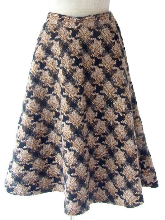 【送料無料】フランス買い付け 60年代製 ブラック X ブラウン 千鳥格子 厚手ウール スカート 17FC513【ヨーロッパ古着】
