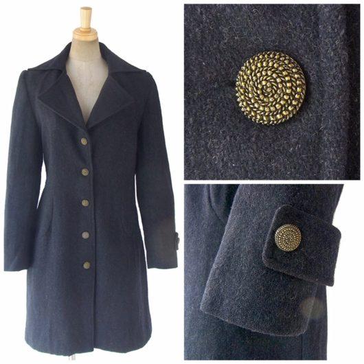 【送料無料】ロンドン買い付け ブラック X ゴールド デザインボタン ヴィンテージ やわらかなウール コート 09UK1512【ヨーロッパ古着】