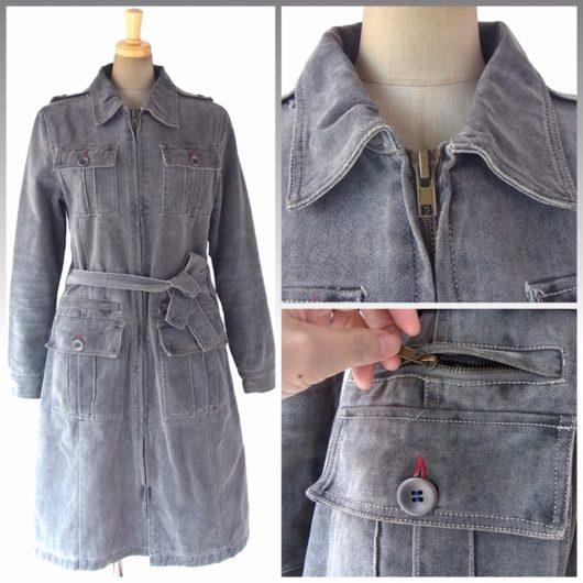 【送料無料】ロンドン買い付け グレイ X ポケットがたくさん 共布ベルト付き ジップアップ コート 06UK167【ヨーロッパ古着】
