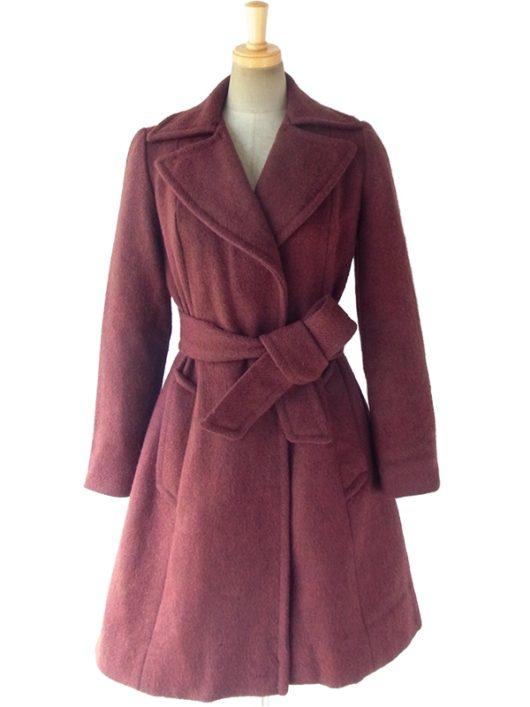 【送料無料】ロンドン買い付け 70年代製 ボルドーブラウン ガウン風デザイン ウール コート 09UK1600【ヨーロッパ古着】