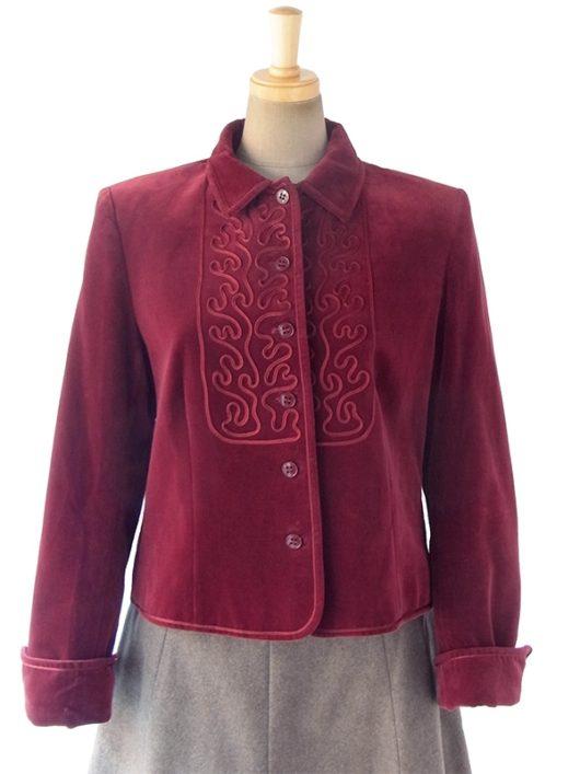 【送料無料】60年代イギリス製 JAEGER バーガンディー X コードレース刺繍 ベロア ジャケット 10BS297【ヨーロッパ古着】