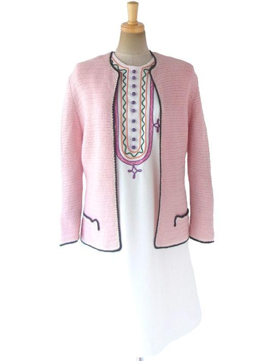 【ヨーロッパ古着】フランス買い付け 60年代製 ピンク X ホワイト・ブラック縁取り ウール ニット カーディガン 17FC510【おとなかわいい】