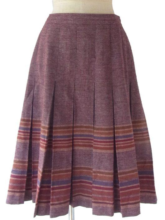 ヨーロッパ古着 ロンドン買い付け 60年代製 バーガンディー X シックな配色のボーダー ボックスプリーツ スカート 17OM825