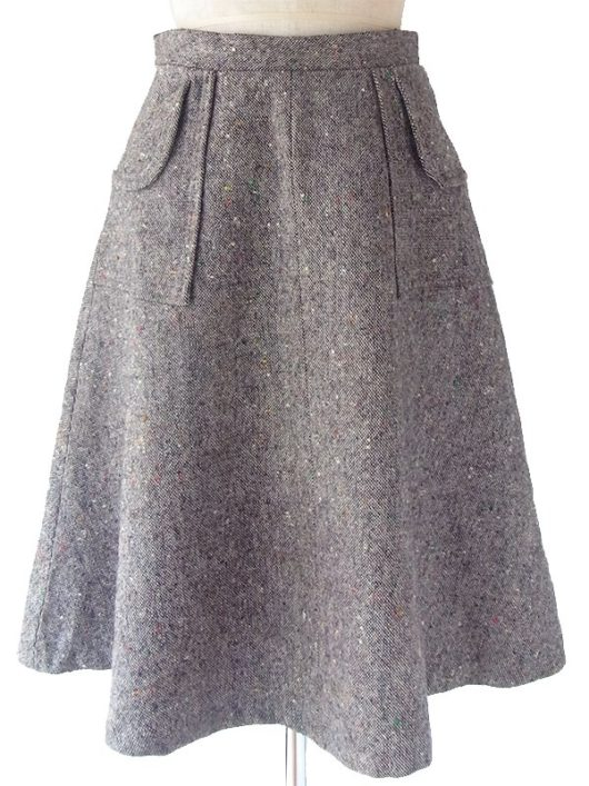 【ヨーロッパ古着】ロンドン買い付け 60年代製 チャコールグレー X ポケット付き ミックスツイード スカート 17OM827【おとなかわいい】